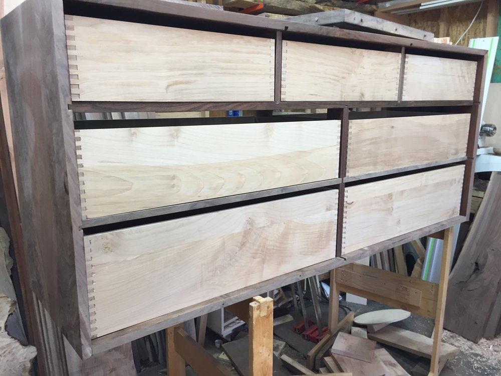 Drawer boxes before installed on the slides