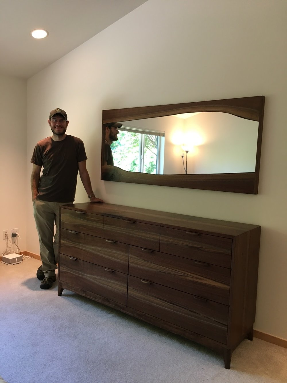 Posing with the dresser and matching live-edge mirror