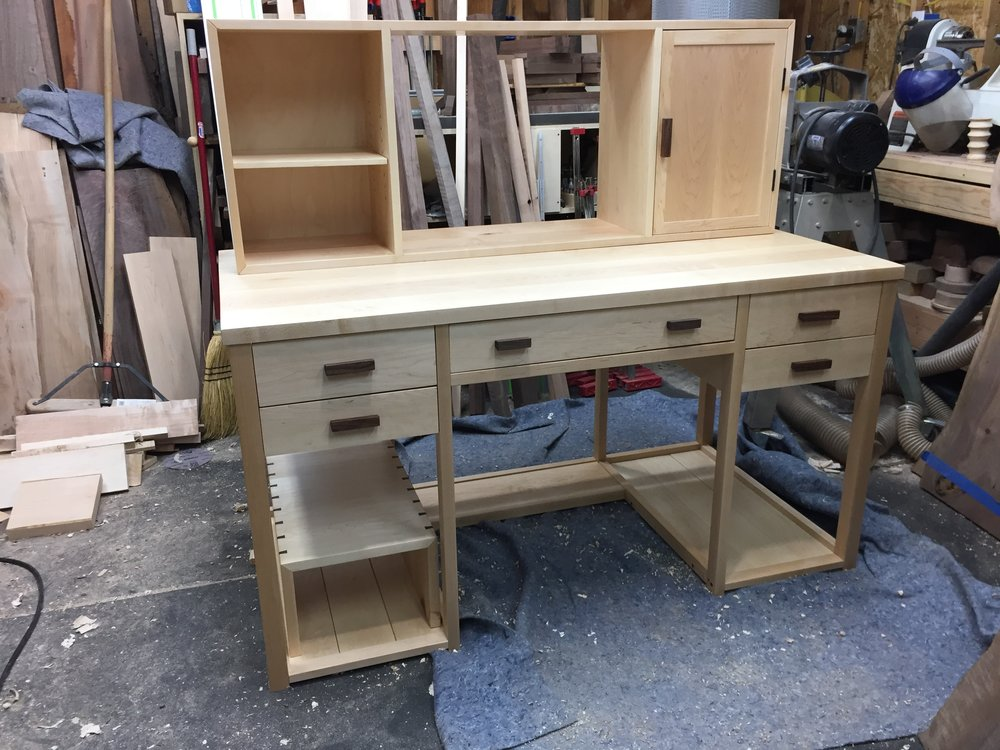 Eastern maple computer desk with walnut accents, Oct. '17