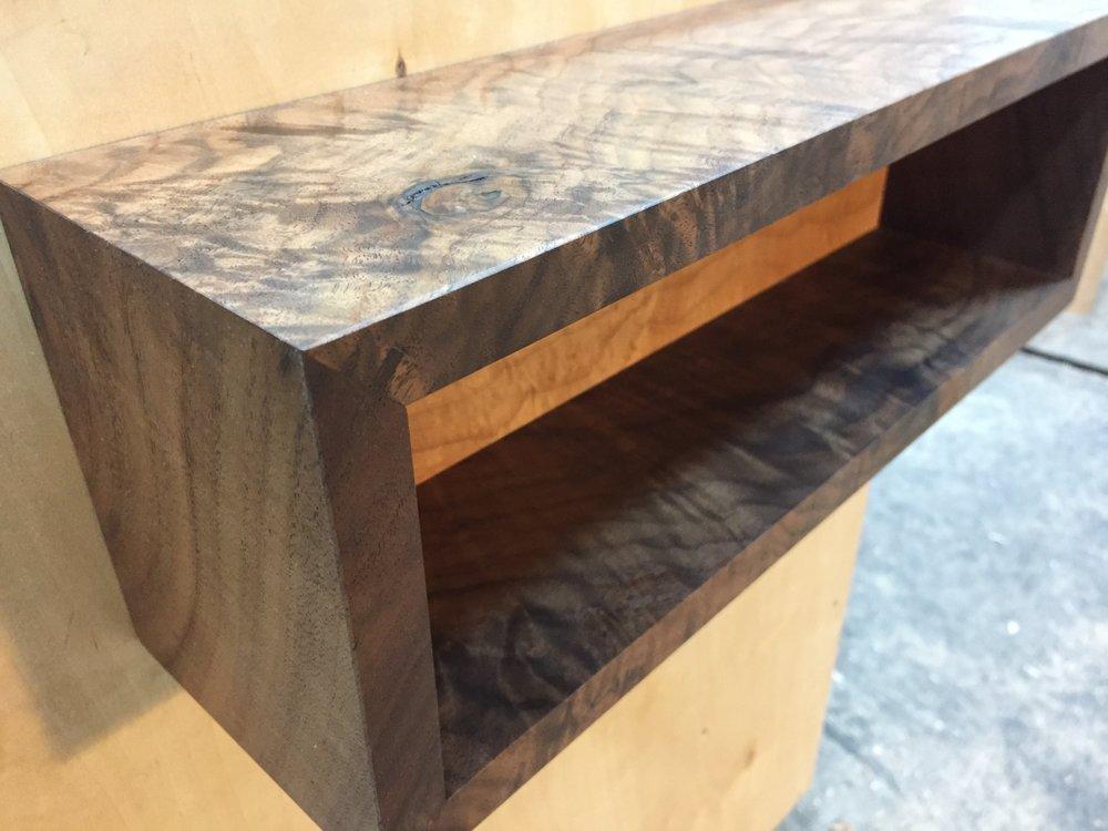 Figured walnut display shelf, western maple back. September '17