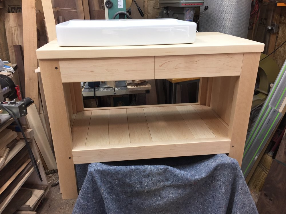 Maple vanity #2 with top and sink dry-fit in place, Dec/Jan '17-18