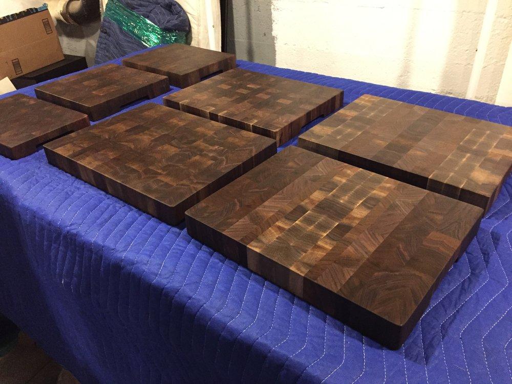 Walnut end grain cutting boards, December '17