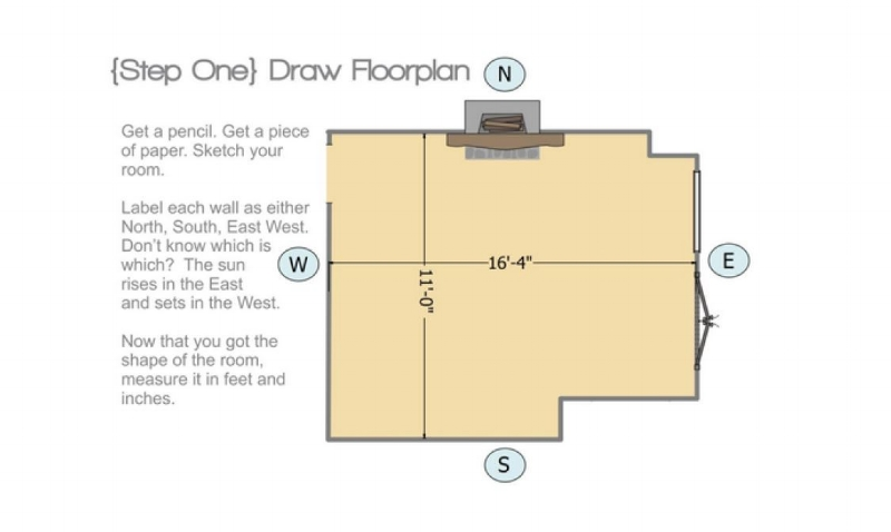 Step 1 - Get started by doing a measure of your space and photographing the space, using our measure guide.