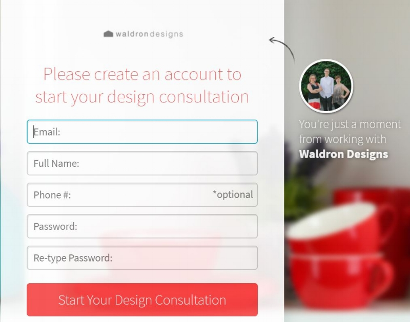 Step 2 - Log into our e-design platform and fill out a basic questionnaire. You will find a place here to upload documents and list dimensions. The more details, the better! Do not be afraid to