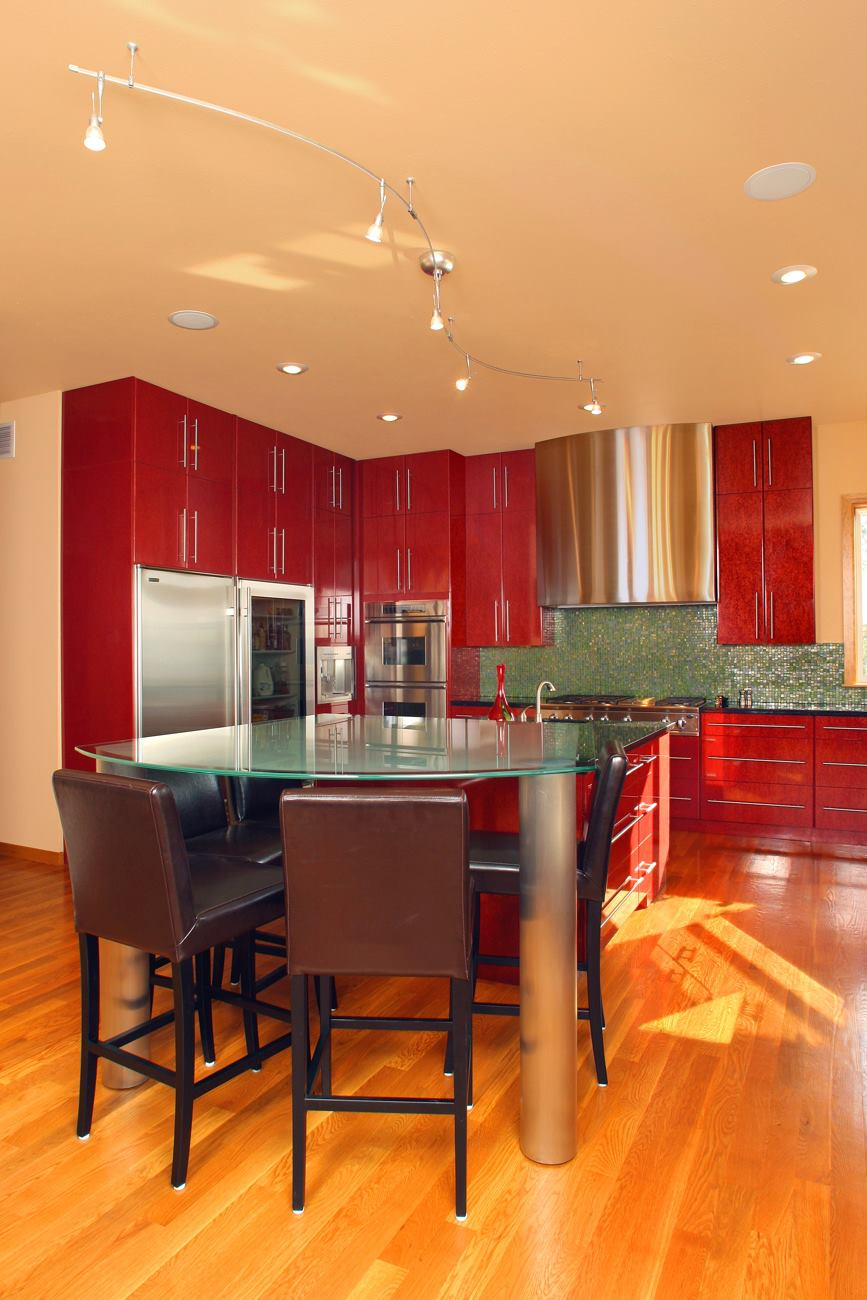 You may recognize this red, shiny kitchen from my portfolio- one of the many I designed while doing exclusively kitchen and bath design at what was then Kitchens by Contardo (now  Berry Built and Design ) in Spokane, WA.
