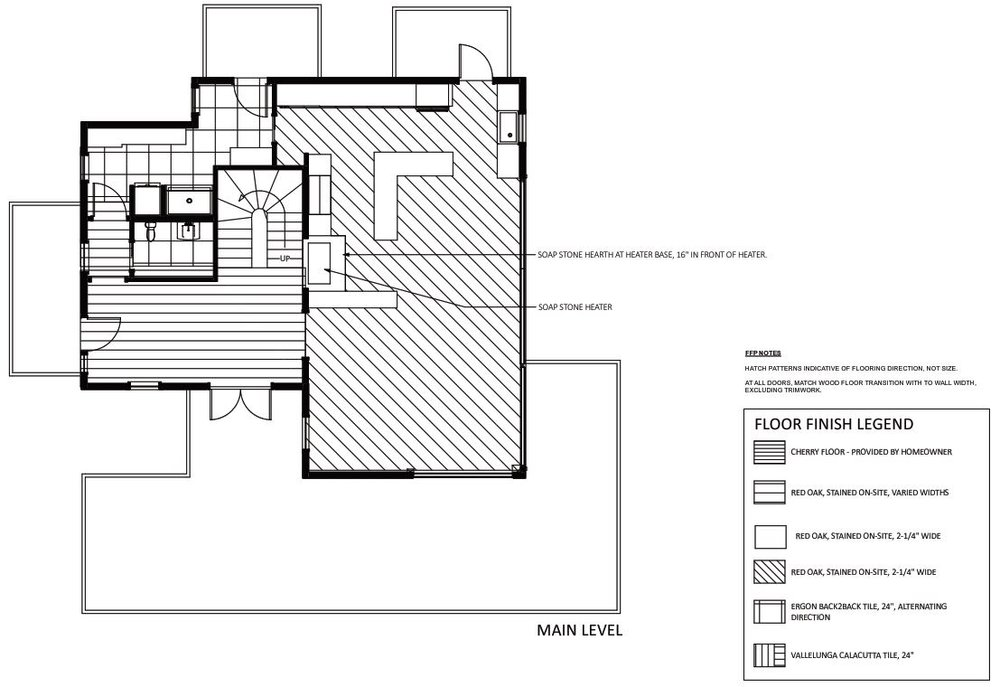 This floor finish plan shows where certain flooring is to be used, and also defines the angle of the flooring as it moves from one space to the next.