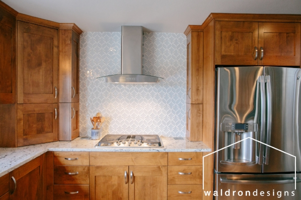 Remember this gorgeous kitchen? We used clear alder and emphasized the warmth with light cool colors everywhere else. It was a perfect balance.