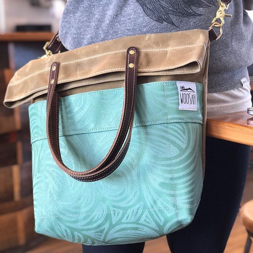 The new Wave fold-over messenger tote from Woosah Outfitters, built by Jake at Gemini Handmade.