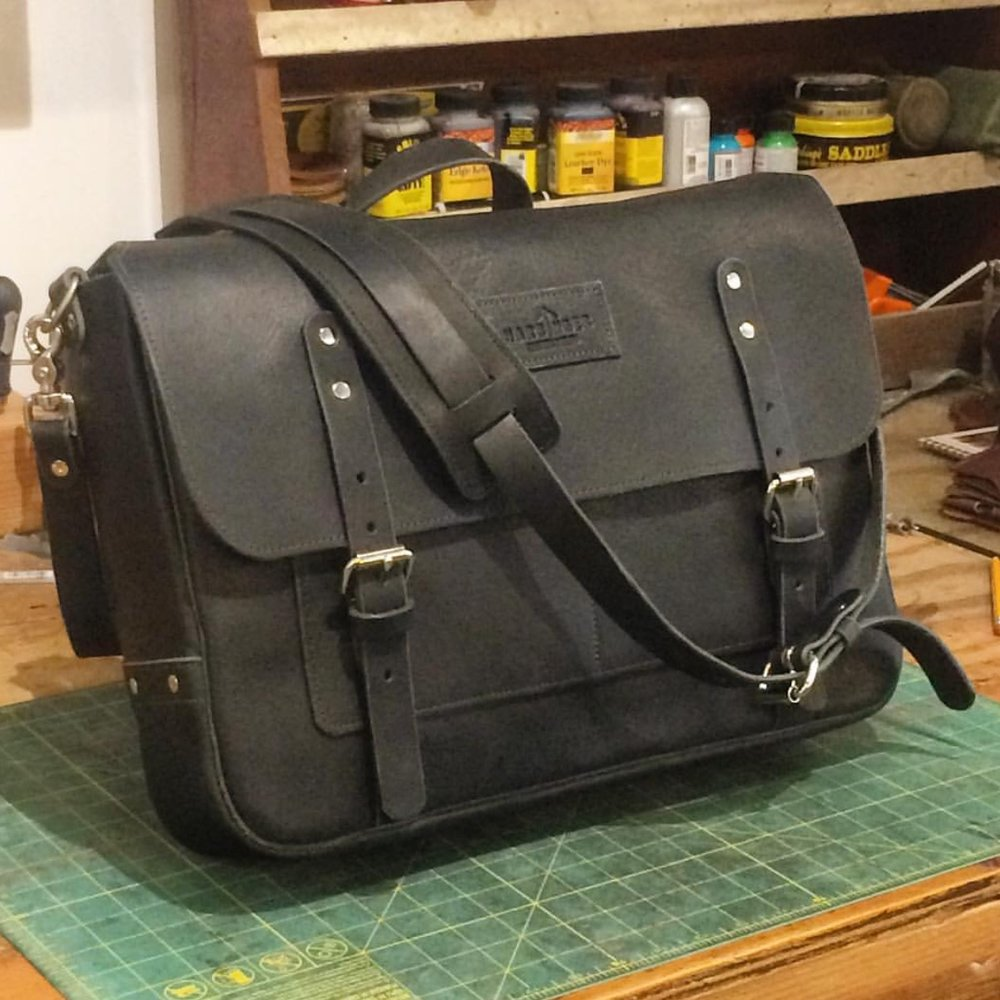 A custom Harbinger Leather Design messenger bag for an individual client.