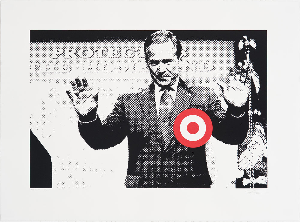 """Fifth Column"" 16"" x 24"" Silkscreen, 2004  Through his actions, George Bush has made all of America a target.  This piece was censored by the arts publication that originally commissioned it, and subsequently rejected by a printer based on its political content. Next it was printed as the subject of an article in a different arts journal who was warned against reproducing the image by the ACLU. The final version was created for the ""Sedition"" group show at the Mark Woolley Gallery."