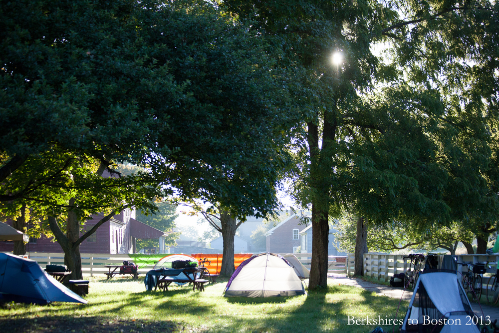 Morning greets the Hancock Shaker Village campsite