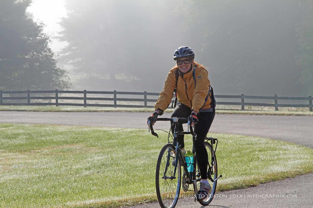 Michelle Murphy departs Hancock Shaker Village on the 2014 Berkshires to Boston Tour
