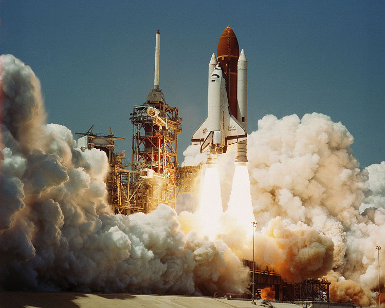 Challenger solid rocket boosters in use on Challenger space shuttle