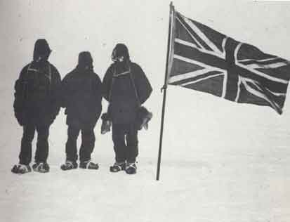 Adams, Wild, Marshal;   ( left to right )   photographed by Shackleton   at their furthest South.