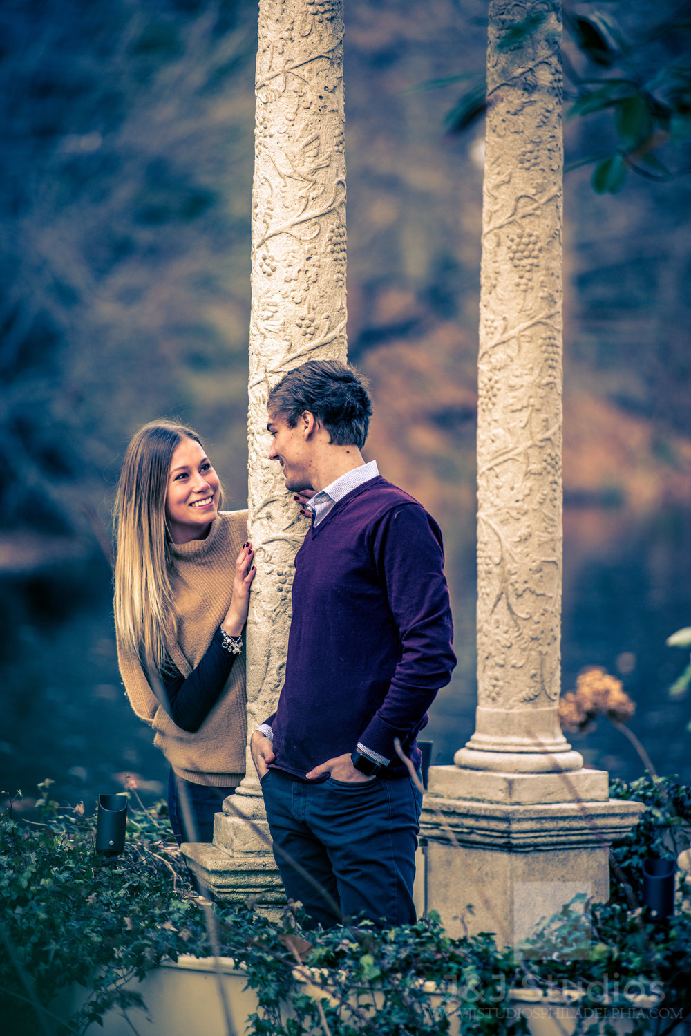 fun longwood gardens engagement shoot