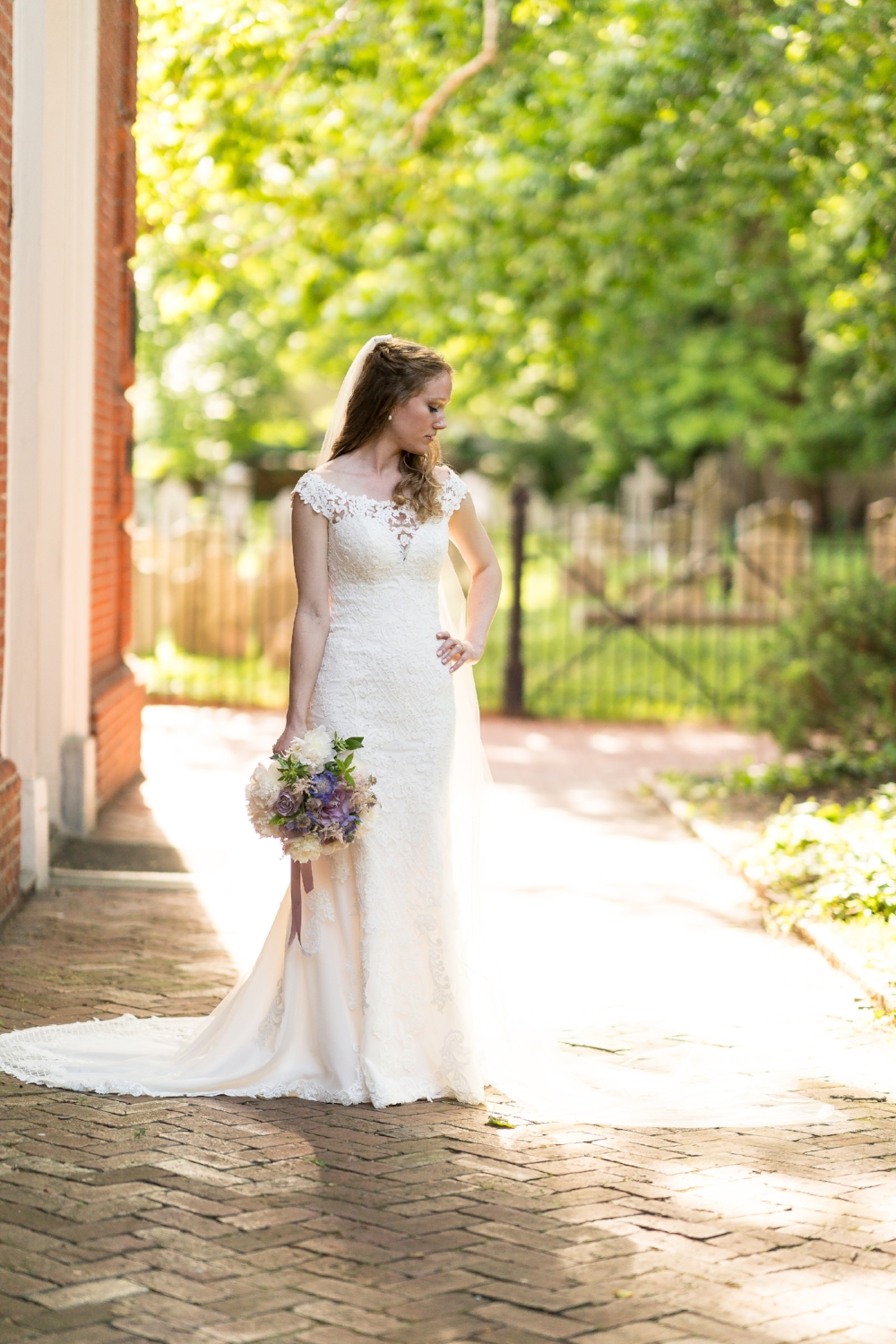 Wedding Gown by  Stella York ; Hair/Makeup by  Dina Alon Studio ; flowers by  Petit Jardin en Ville