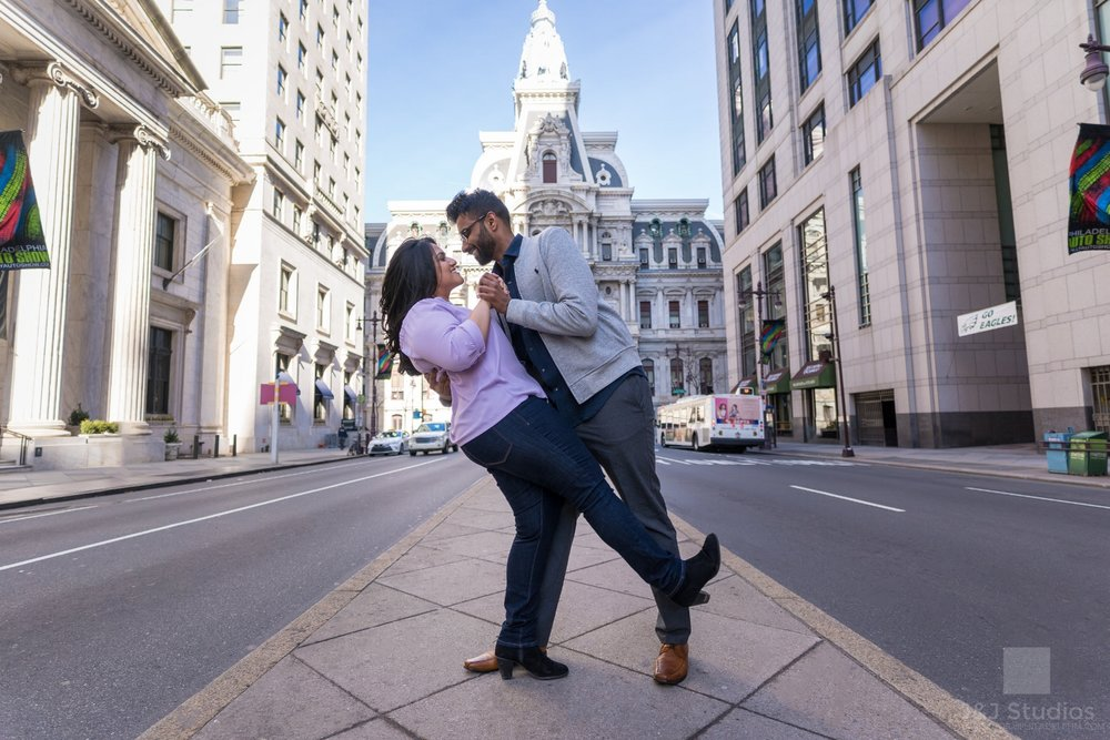 broad-street-city-hall-dip-engagement-shot