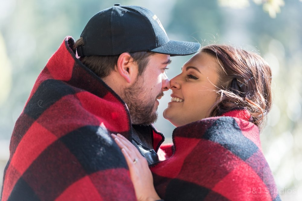 The couple braved the cold and found a way to have fun during a winter photoshoot