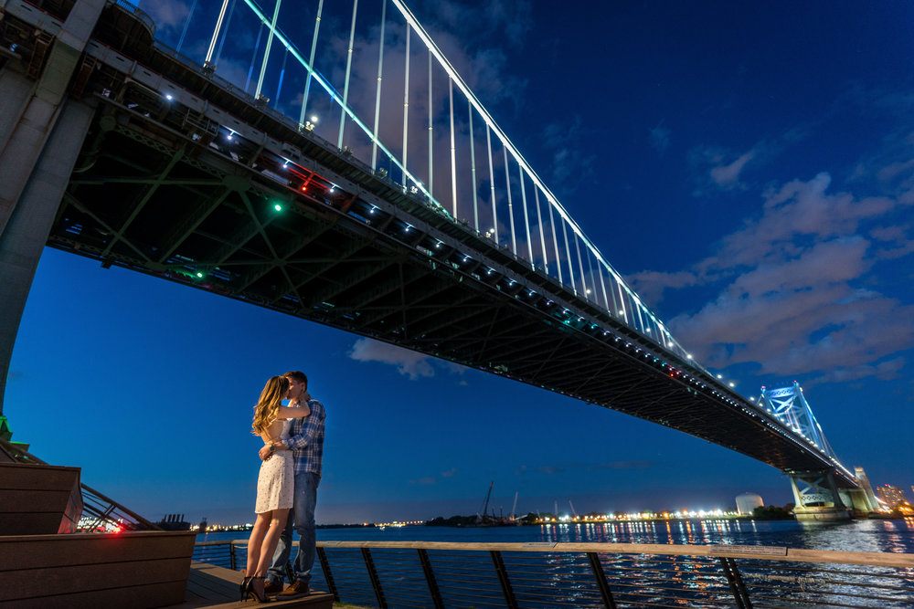 race street pier night engagement