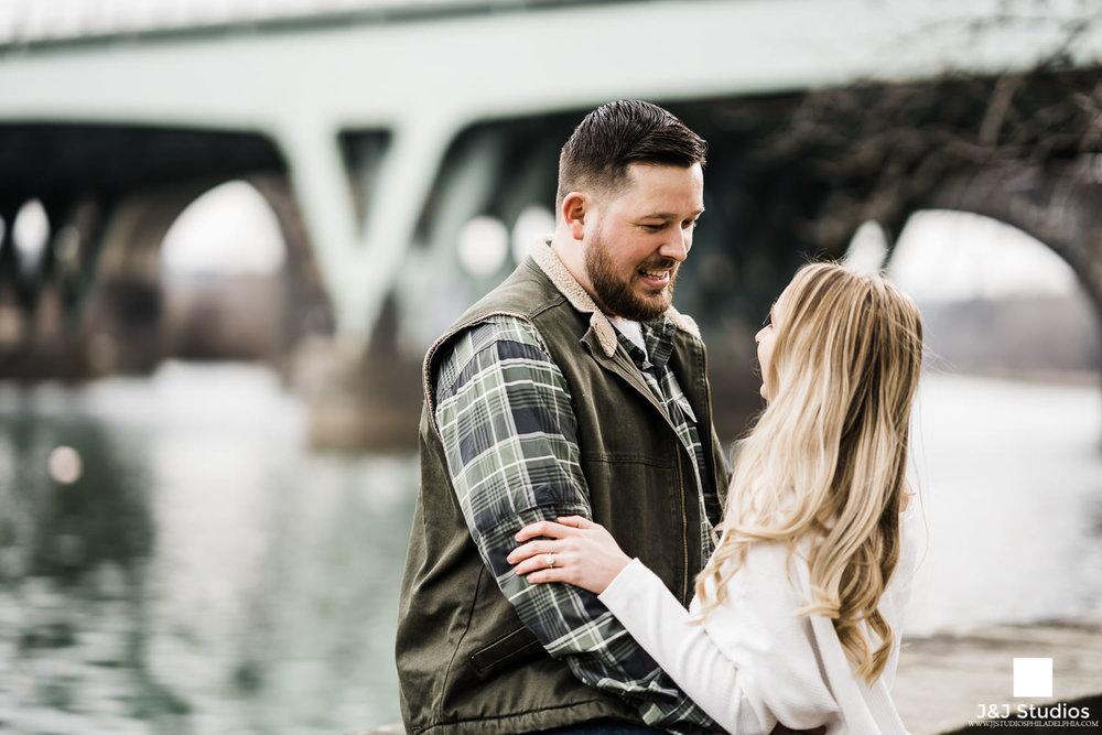 engagement at Schuylkill River with bridge