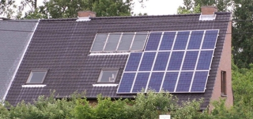German house with solar panels