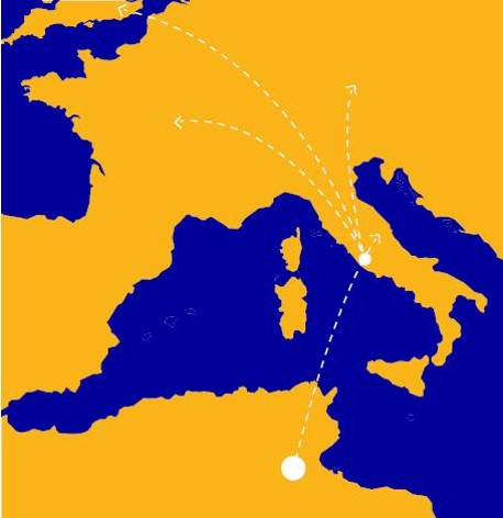 The route of the electricity from the Tunisian desert to a landing north of Rome and hence into the European electricity grid
