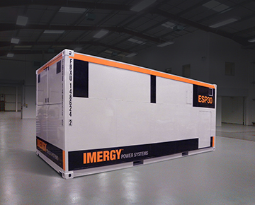 An Imergy 30 kW/120 kWh battery. About 6m long