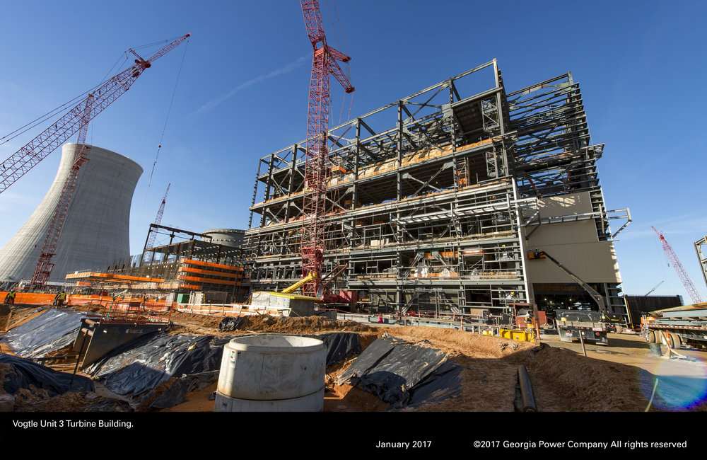 A January 2017 photograph of Plant Vogtle construction (copyright Georgia Power)