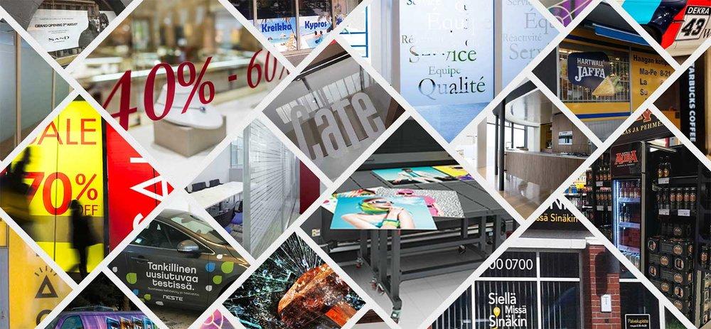 Mainosteippaukset, ikkunakalvot, sisustuskalvot, suurkuvat ja autoteippaukset: Tuotanto ja asennus MainosLine Oy.