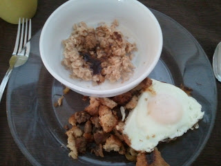 Stuffing with Fried Egg and a side of Oatmeal