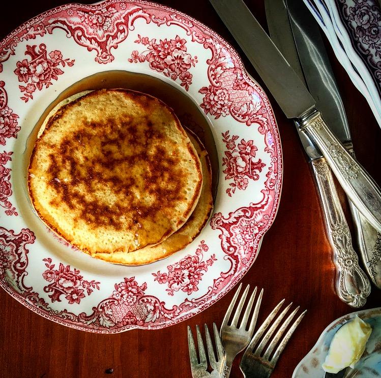 Salted Caramel Ricotta Pancakes