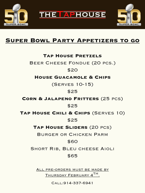 Tap House Super Bowl Appetizers to go