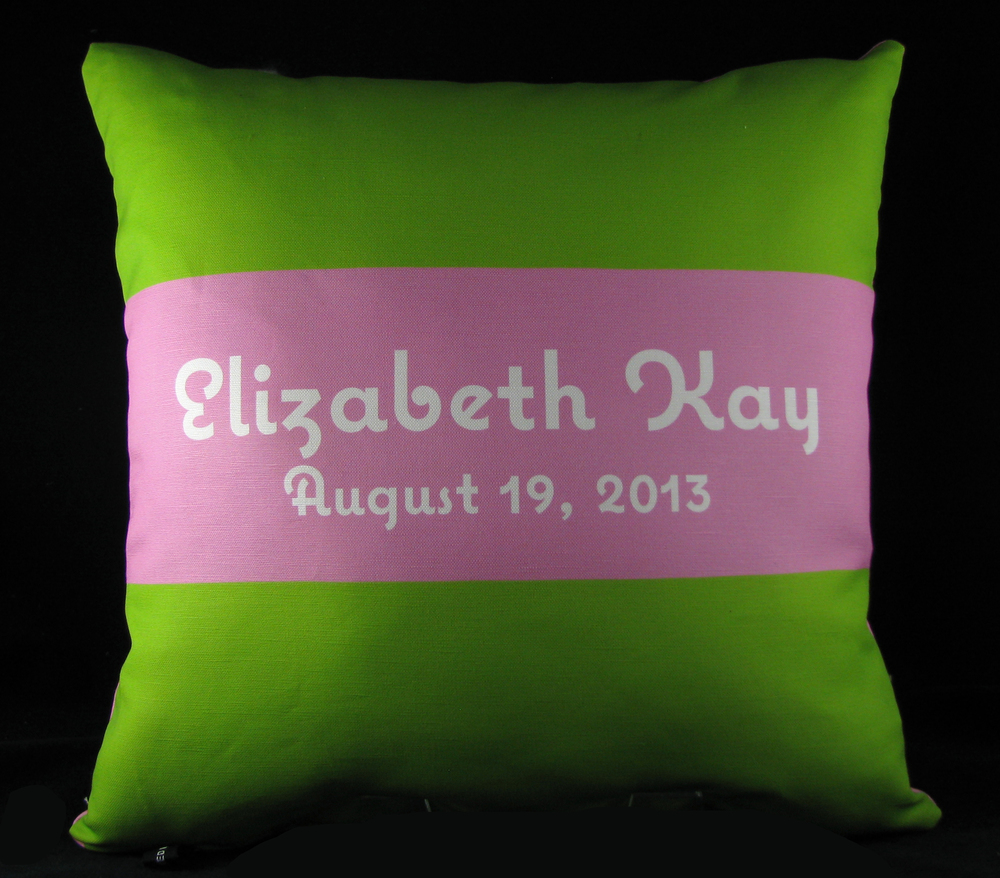 Horizontal Stripe Personalized Pillow Available in both cotton and minky.