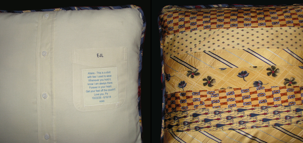Pillows from a Grandpa's shirts and ties. One is yellow and one is blue. Click here to see both pillows.