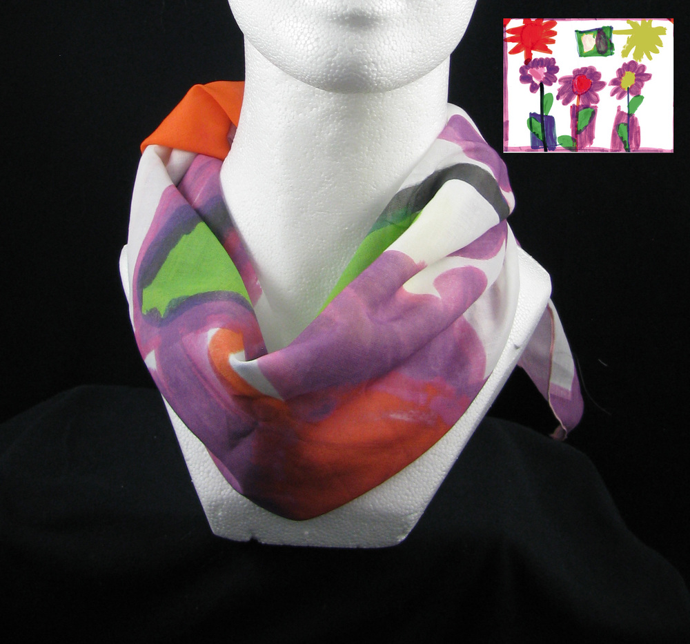 Art printed full sized on a scarf. Shown in cotton.