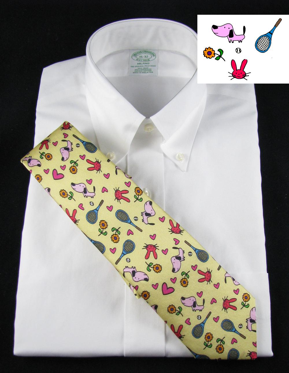 Doodles on a tie! Silk Necktie