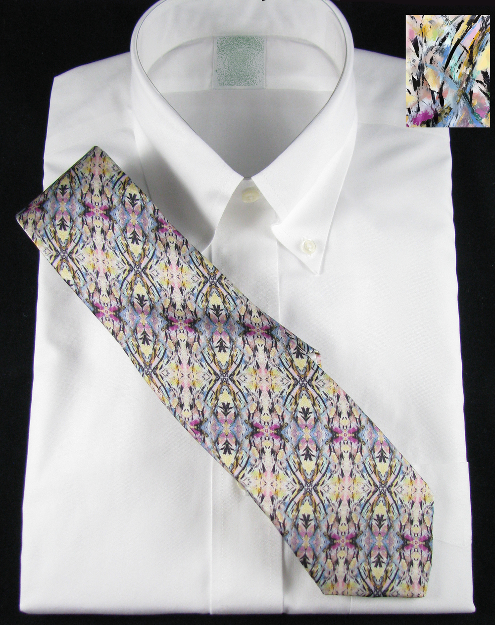 A painting, put into kaleidoscope repeat. Silk Necktie