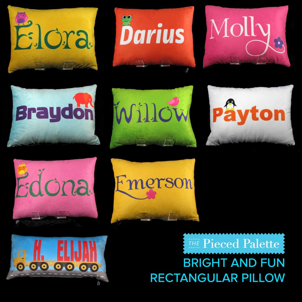 BRIGHT AND FUN PILLOWS: Owl, Frog, Flower, Elephant, Bird, Penguin, Truck - available in these colors only. Different colors may be possible -  email us at  info@thepiecedpalette.com  about a CUSTOM ORDER. Available in both cotton and minky.