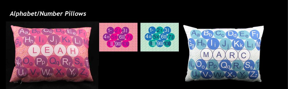 LEARNING PILLOWS: Two-sided pillow Side One: English Alphabet with name; Side Two: Numbers. Colors as shown.