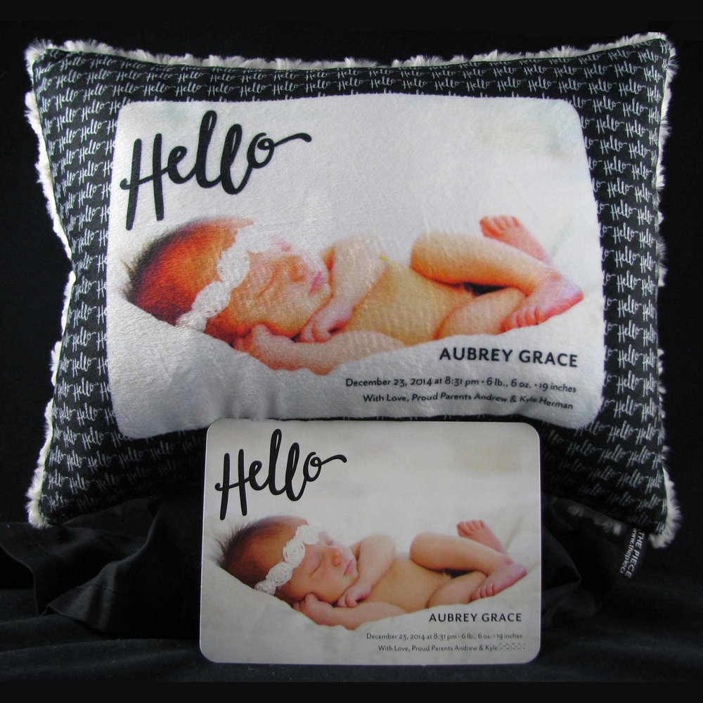 CLICK PHOTO TO SEE CUSTOM BIRTH ANNOUNCEMENT PILLOWS
