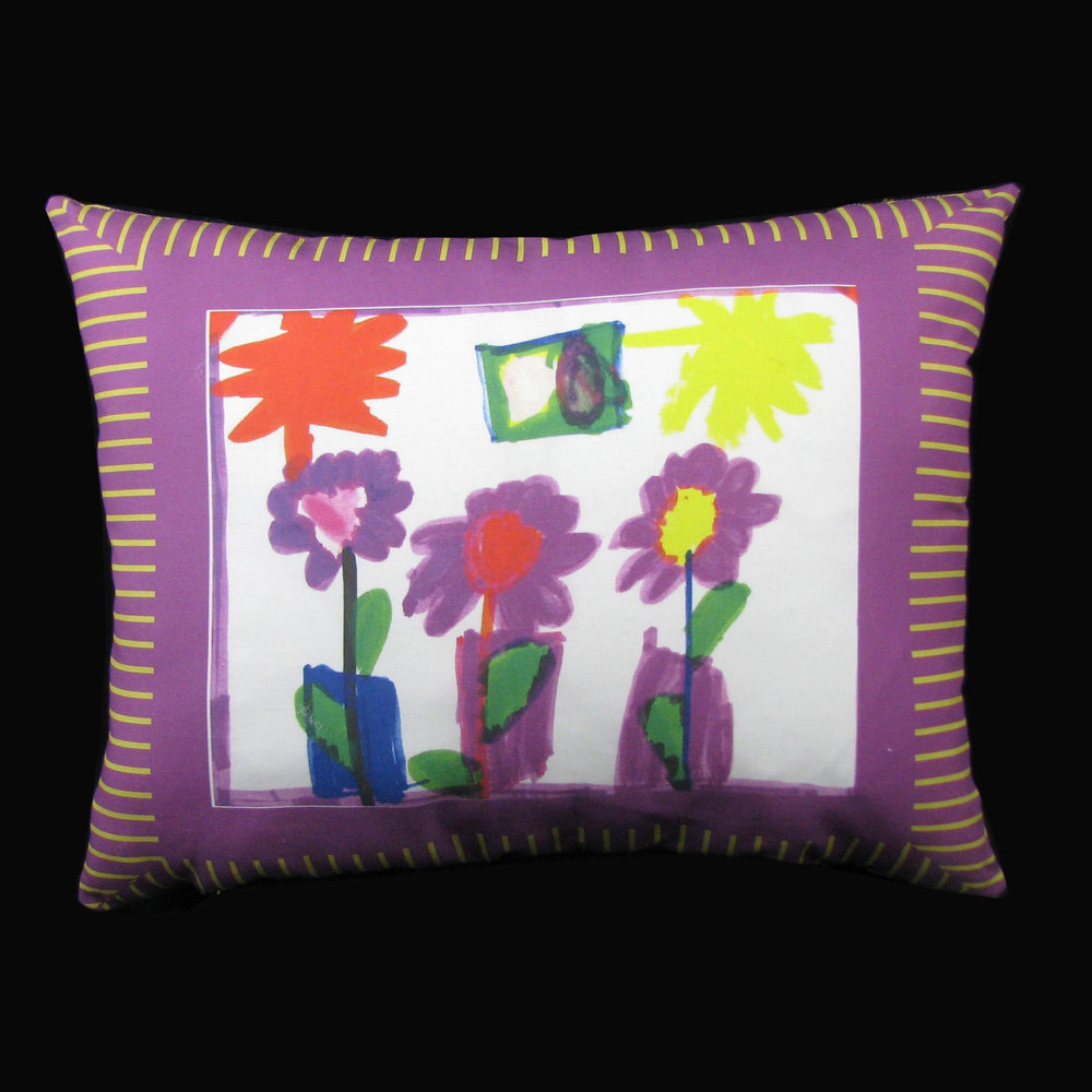 Children's art on a pillow