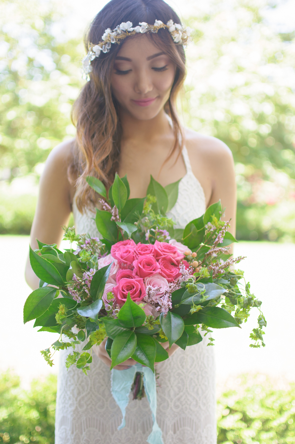 Colorful Loose Pink Bridal Bouquet