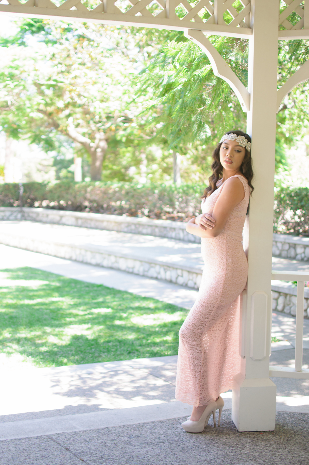 Pink Lace Pinup Inspired Bridal Gown