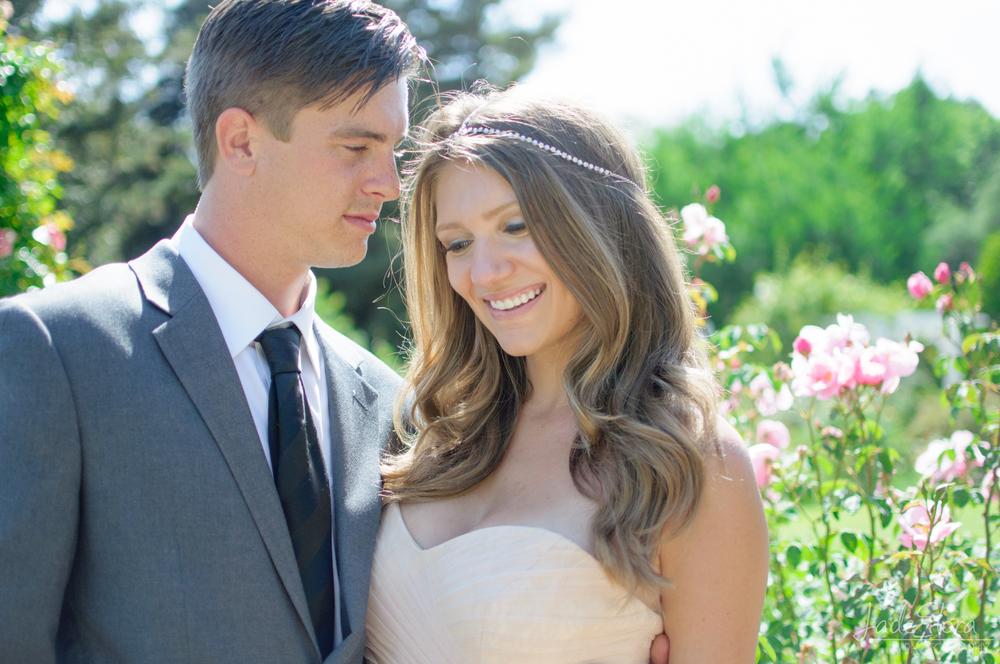Bride and Groom in LA Arboretum Rose Garden