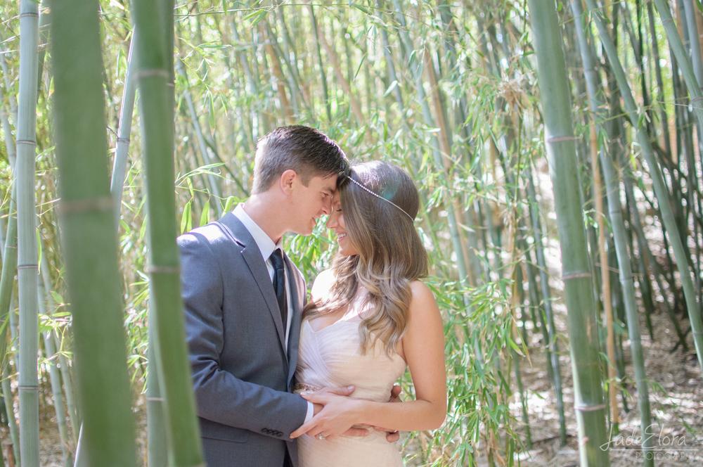 LA Arboretum Bamboo Forest Wedding Couple Portrait