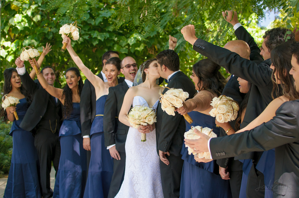 Cheering Bridal Party in Navy