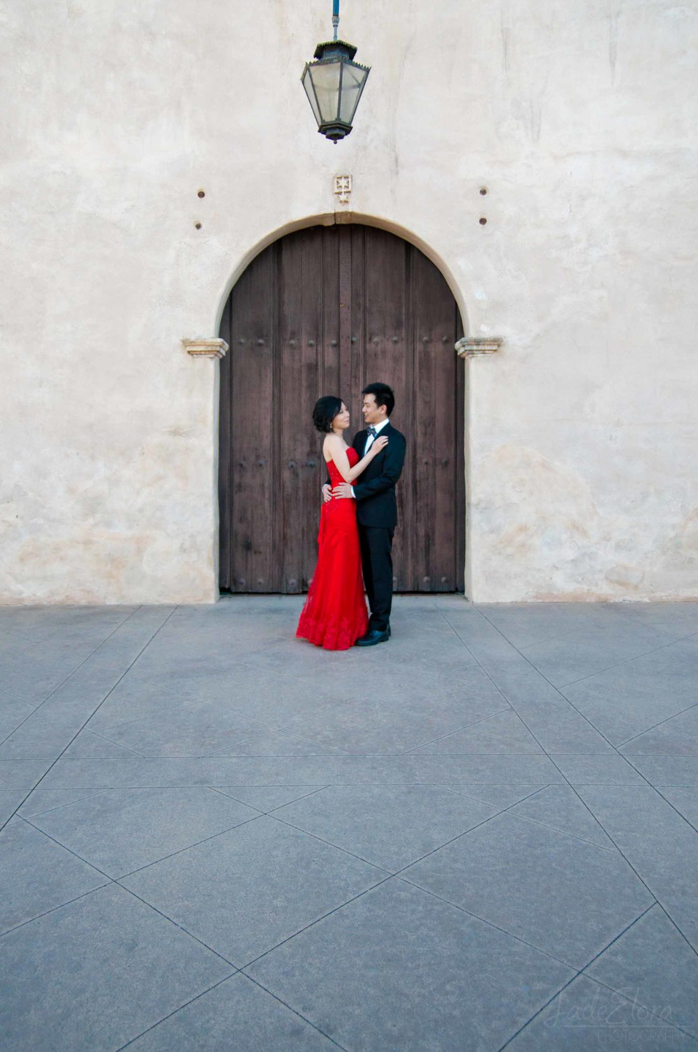 Red Wedding Dress Couple Portrait at San Gabriel Mission
