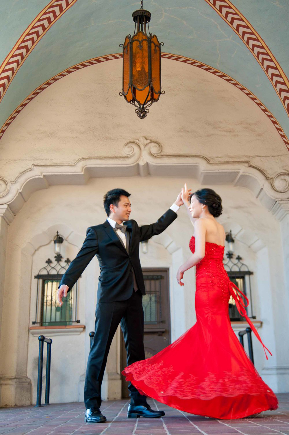 Red Dress Dancing Bride and Groom