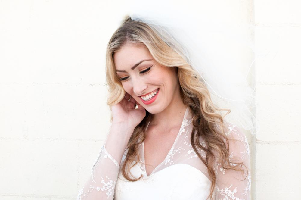 Smiling Blonde Bride in Vintage Dress