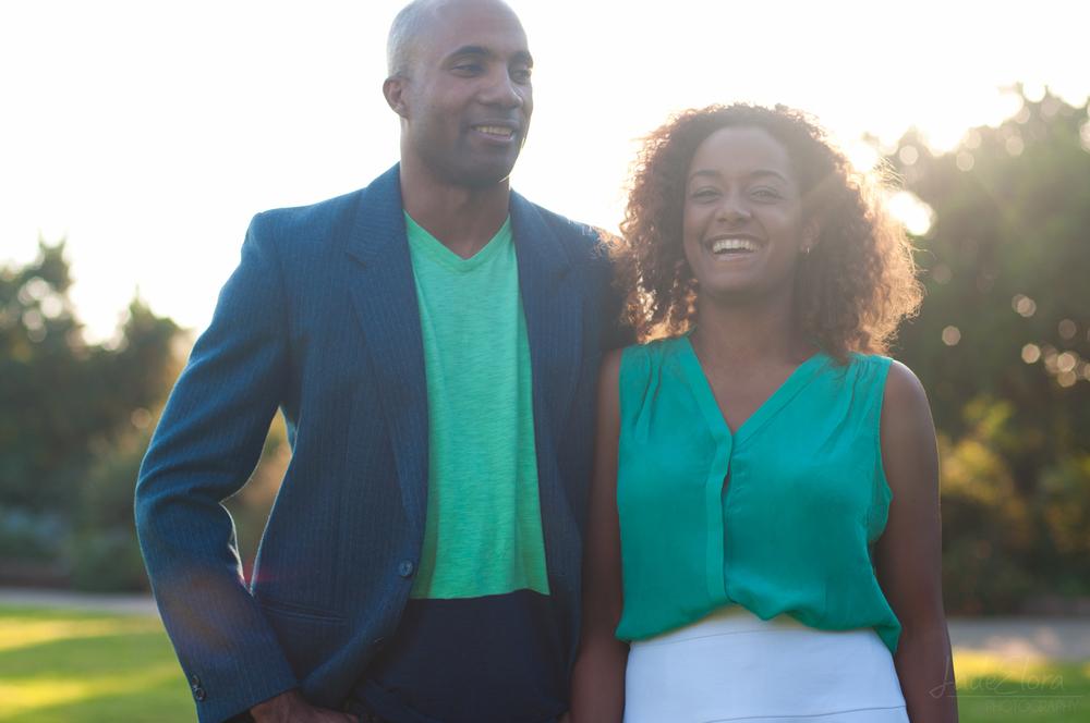 Sunny Laughing Couple at LA Arboretum